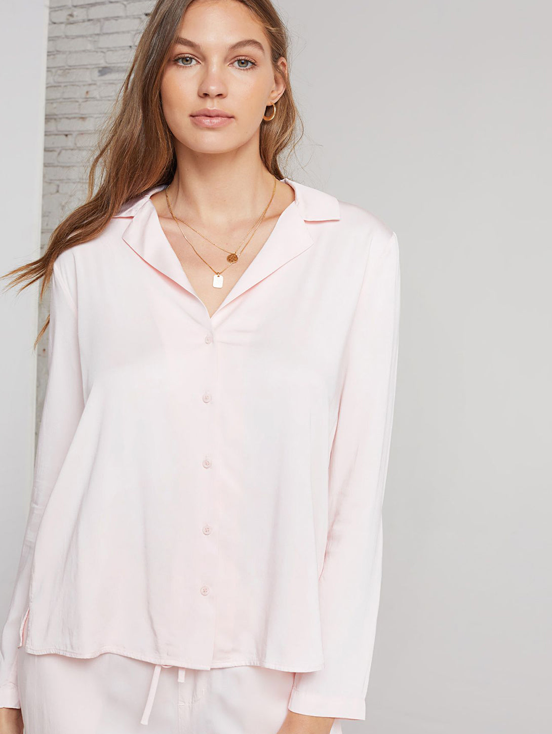 Long Sleeve Button Down Pajama Shirt-Bella Dahl-Over the Rainbow