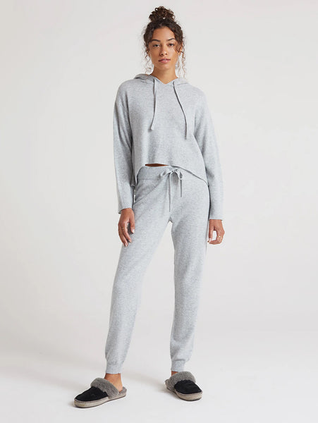 Cashmere Rib Jogger Pant - Heather Grey-Bella Dahl-Over the Rainbow