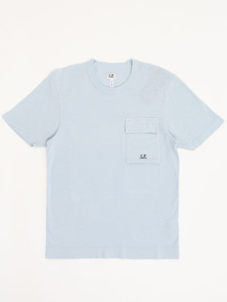 Jersey Sleeve Pocket Crew T-Shirt - Halogen Blue-CP COMPANY-Over the Rainbow