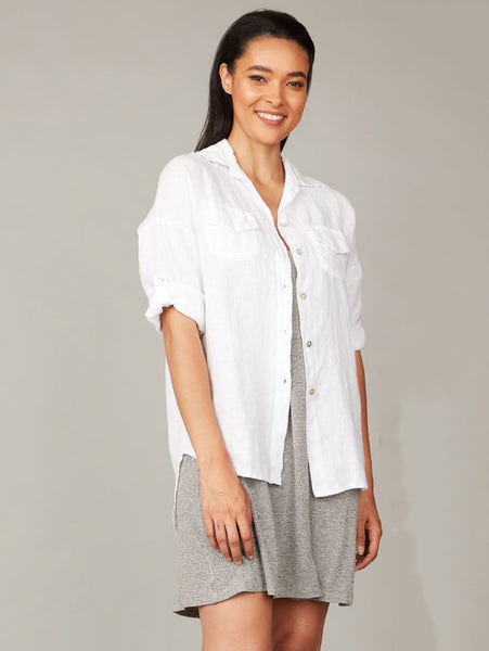 Linen Double Pocket Shirt - White-PISTACHE-Over the Rainbow