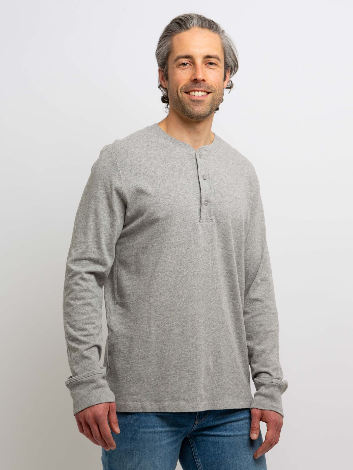 Adrian Jersey Henley Long Sleeve Top - Heather Grey-Velvet-Over the Rainbow