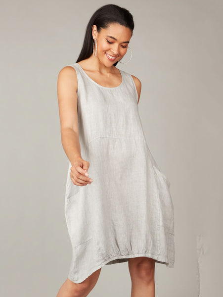 Linen Bubble Dress with Center Elastic Bottom-PISTACHE-Over the Rainbow