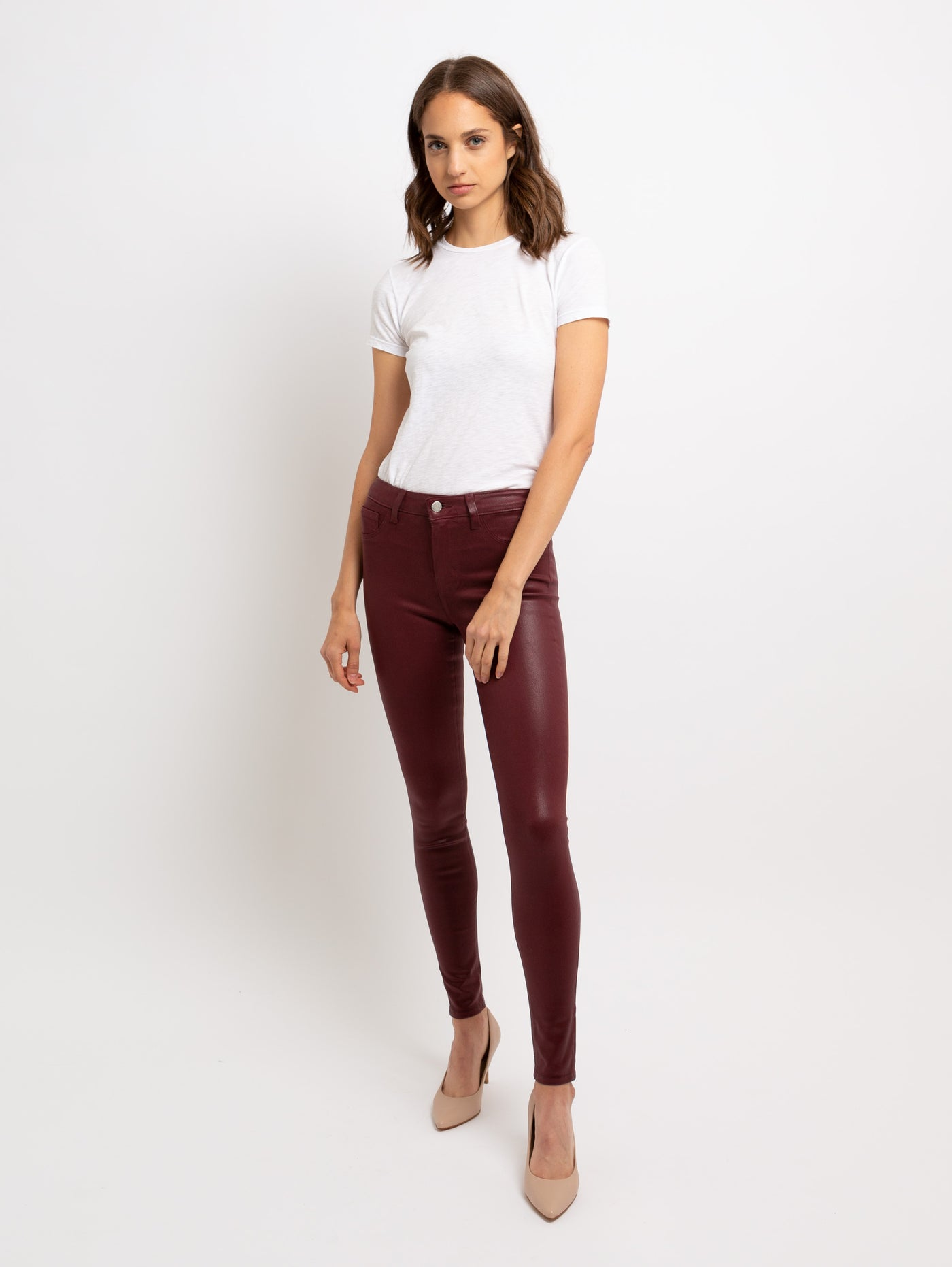 Marguerite High Rise Skinny Jean - Garnet Coated-LAGENCE-Over the Rainbow