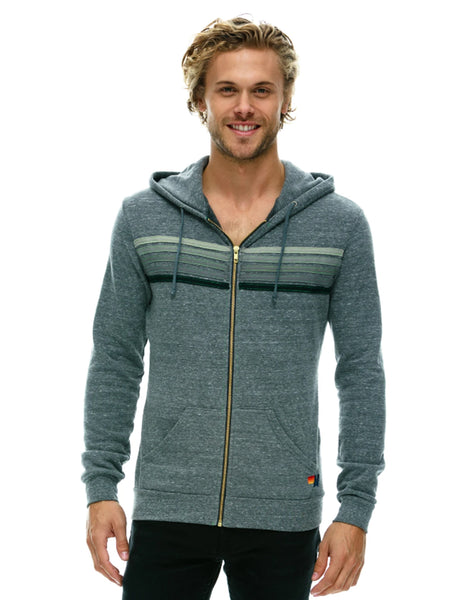 5 Stripe Hoodie - Heather Grey/Grey Stripes-AVIATOR NATION-Over the Rainbow