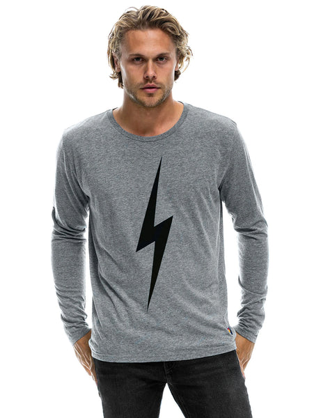 Bolt Long Sleeve Crew Top - Heather Grey-AVIATOR NATION-Over the Rainbow