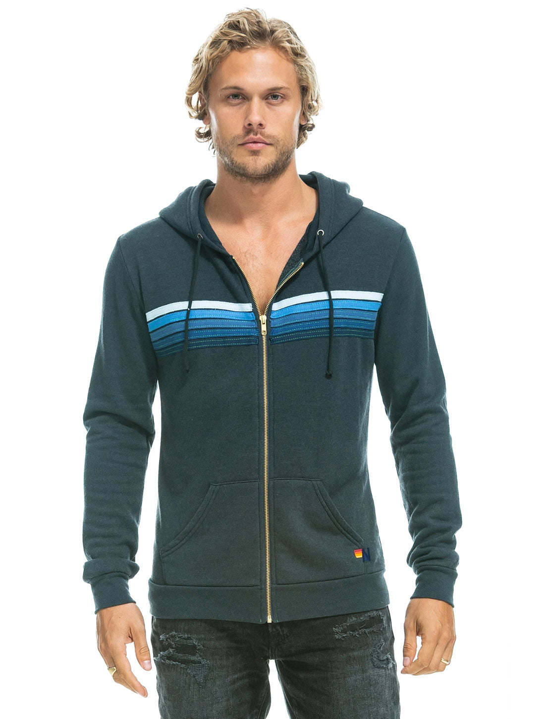 5 Stripe Hoodie - Charcoal Blue Stripes-AVIATOR NATION-Over the Rainbow