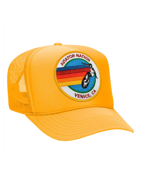 Aviator Nation Logo Trucker Hat - Gold-AVIATOR NATION-Over the Rainbow