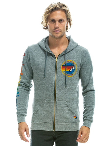 Aviator Nation Logo Zip Hoodie - Heather Grey-AVIATOR NATION-Over the Rainbow