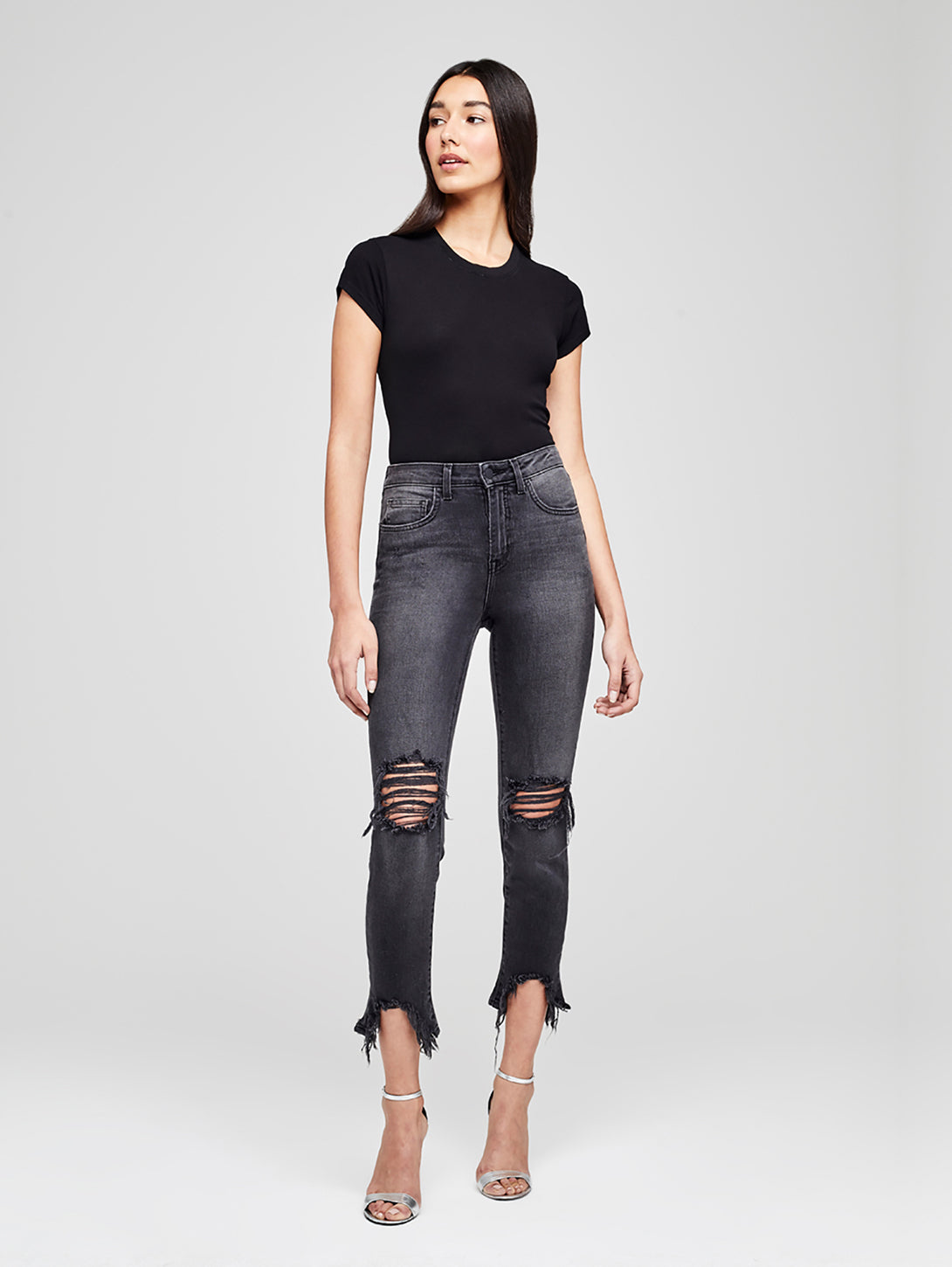 High Line High Rise Skinny Jean - Night Time Destruct-L'AGENCE-Over the Rainbow