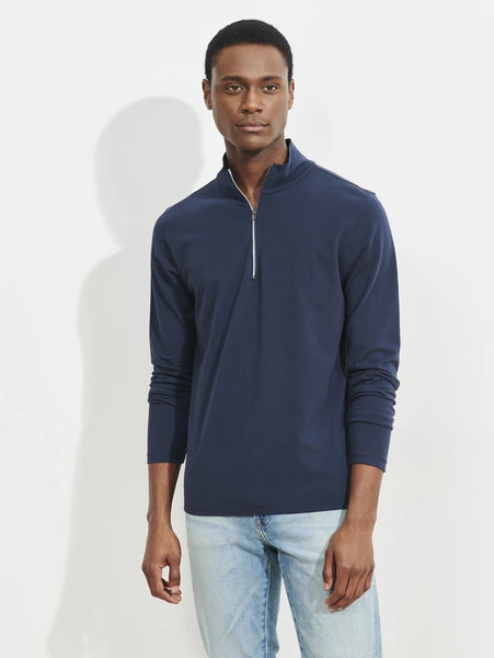 Stretch Zip Mock Neck Top - Midnight