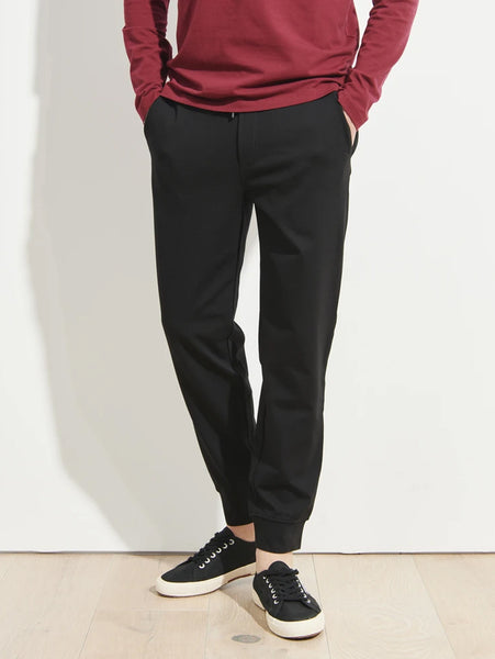 Stretch Cuffed Jogger Pant - Black-Patrick Assaraf-Over the Rainbow