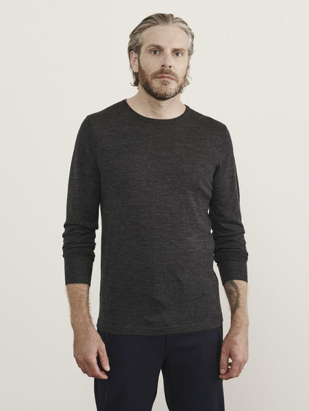 Merino Crew Sweater - Gunmetal-Patrick Assaraf-Over the Rainbow