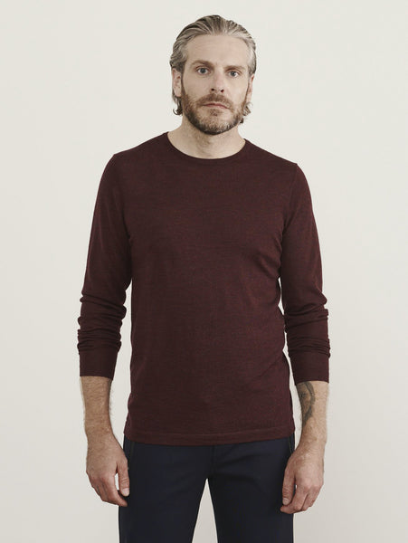 Merino Crew Sweater - Pompeii Mouline-Patrick Assaraf-Over the Rainbow