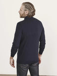 Extra Fine Merino Full Zip Sweater - Midnight Mouline-Patrick Assaraf-Over the Rainbow