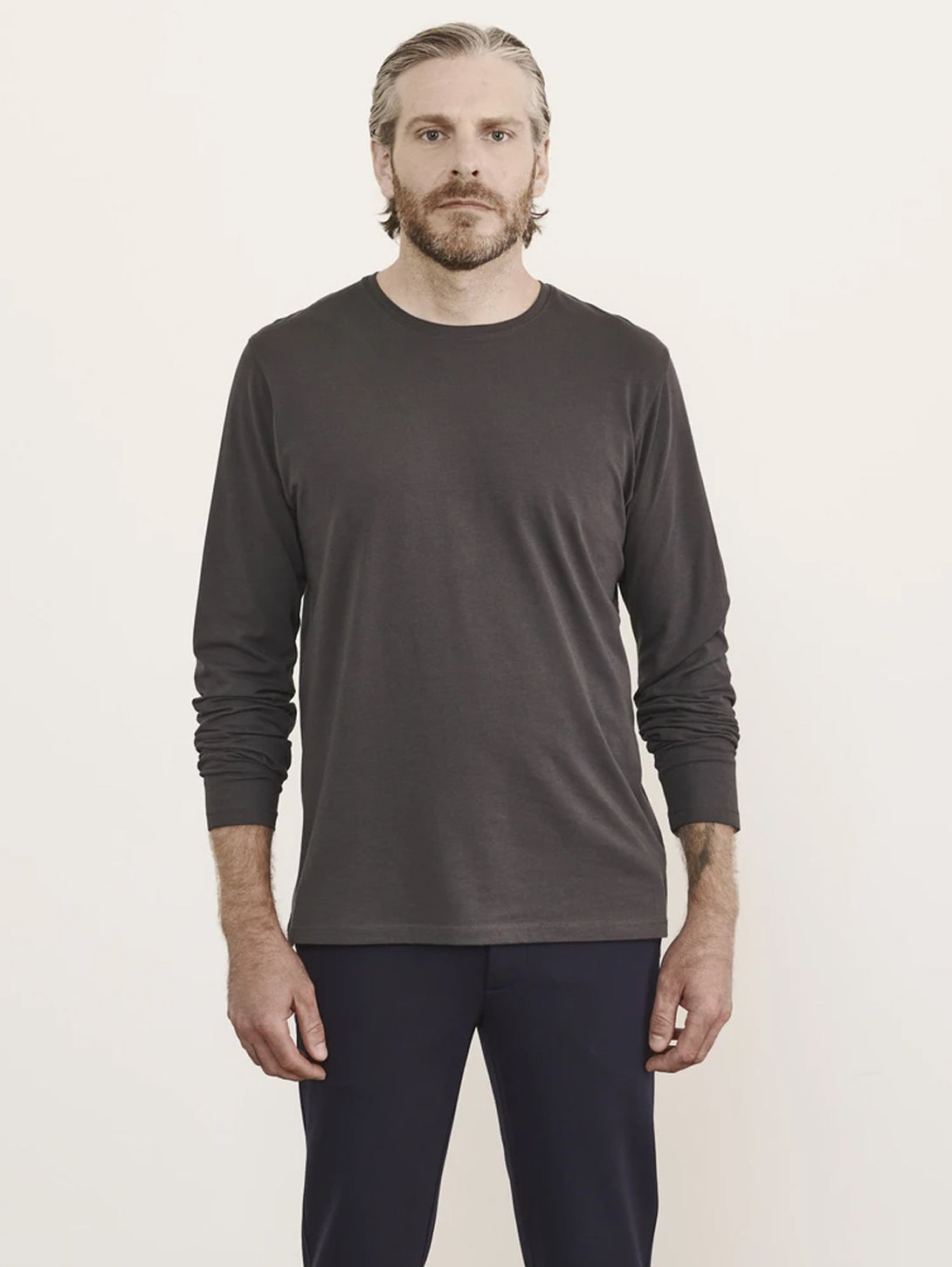 Pima Stretch Long Sleeve Crew Top - Carbon-Patrick Assaraf-Over the Rainbow