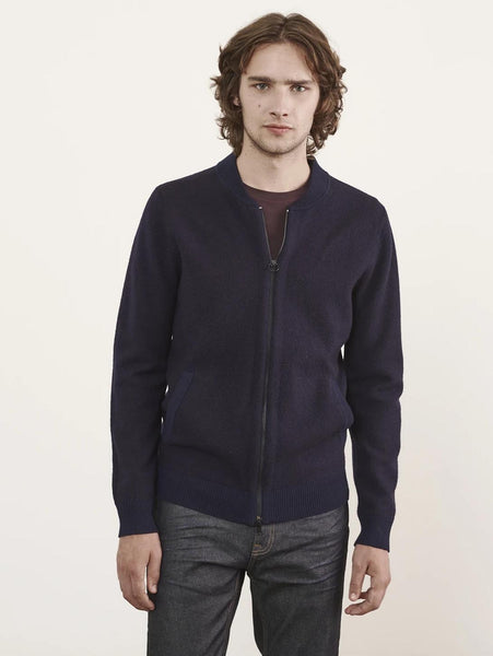 Wool Bomber Zip Sweater - Midnight-Patrick Assaraf-Over the Rainbow
