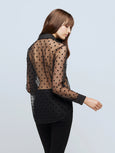 Hailie Sheer Button Down Shirt - Black Dots-LAGENCE-Over the Rainbow