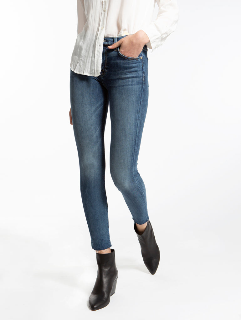 b(air) Authentic Denim High Waist Ankle Skinny Jean with Cut Off Hem in Luck-Seven for all Mankind-Over the Rainbow
