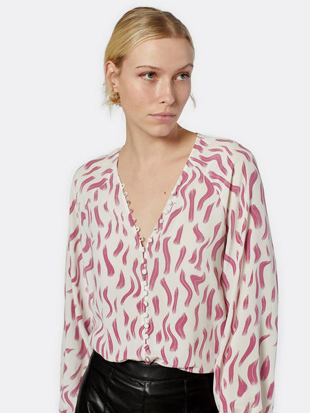 Shariana Print Button Up Shirt - Violet Red-Joie-Over the Rainbow