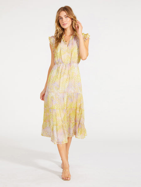 Dream Girl Printed Tiered Midi Dress-BB DAKOTA-Over the Rainbow
