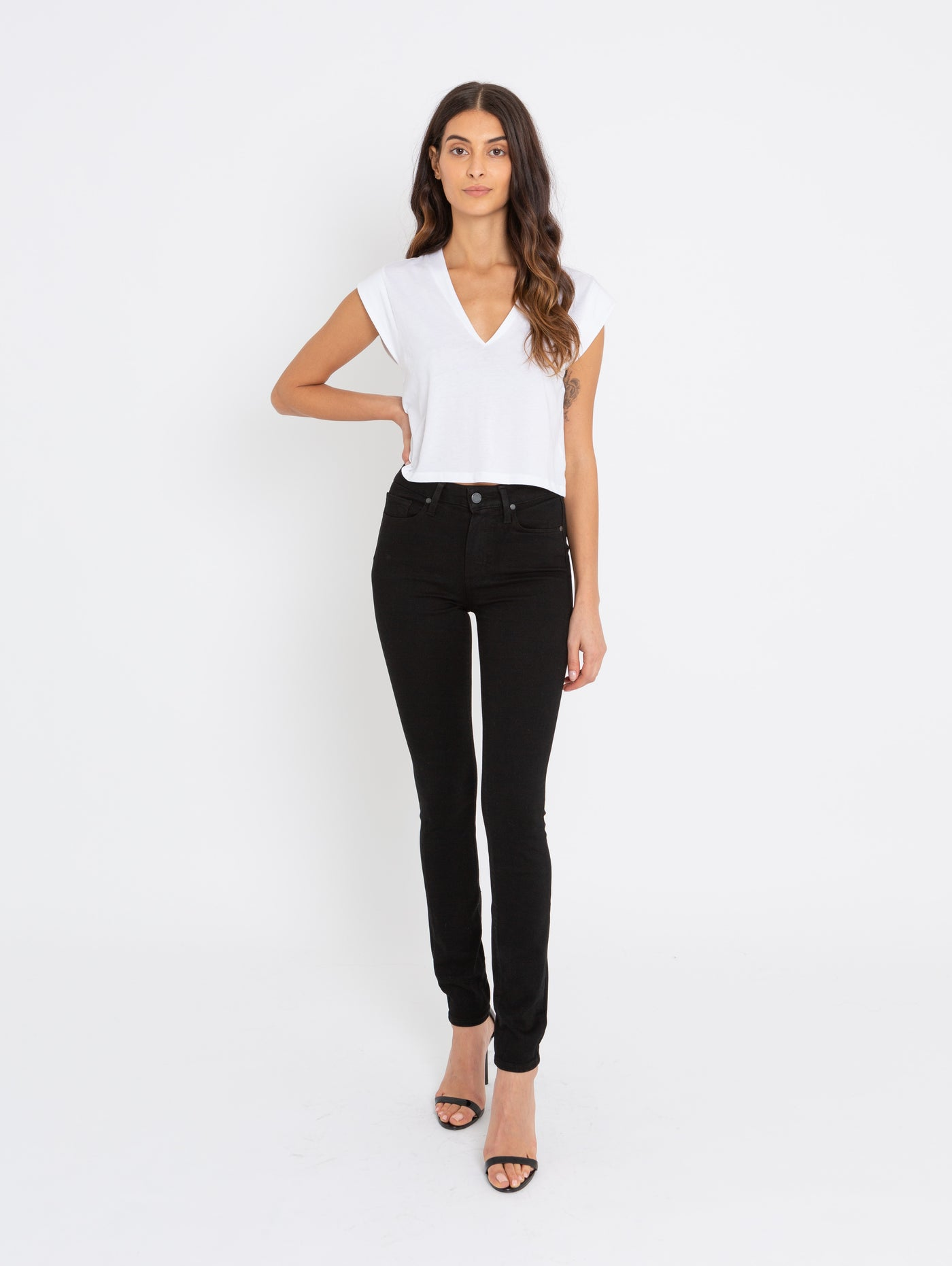 Hoxton High Waist Ultra Skinny Jean - Black Shadow-Paige-Over the Rainbow