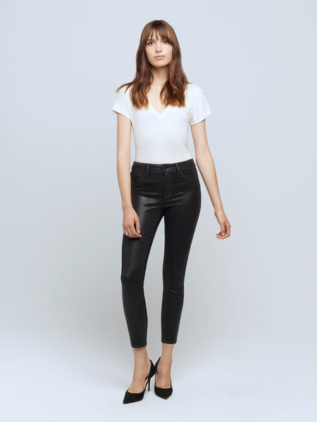 Margot Coated Crop High Rise Skinny Jean - Noir-LAGENCE-Over the Rainbow
