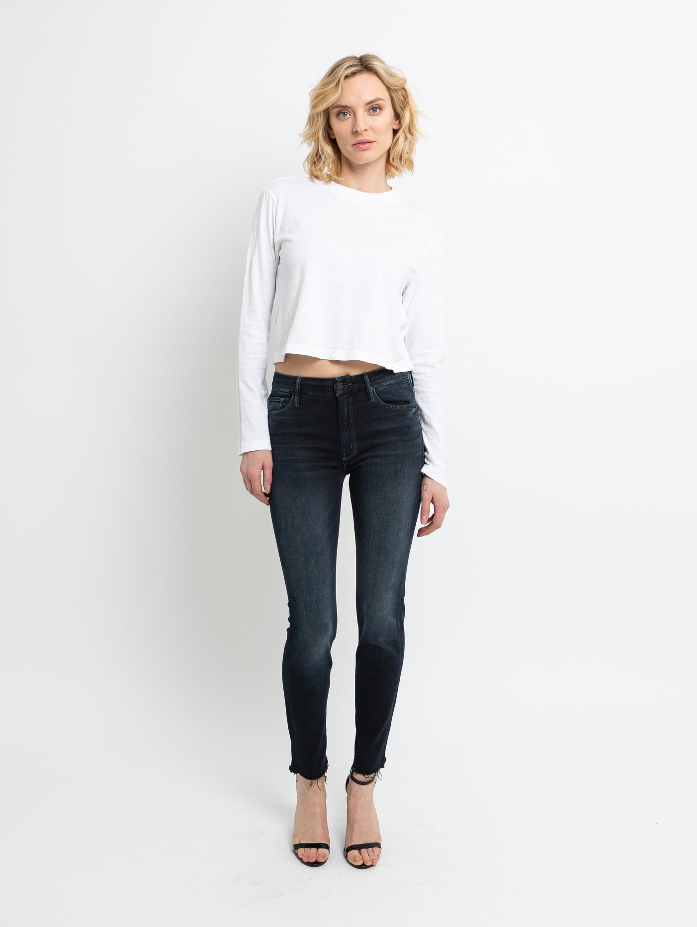 Looker High Waisted Ankle Fray Skinny Jean - Last Call-Mother-Over the Rainbow