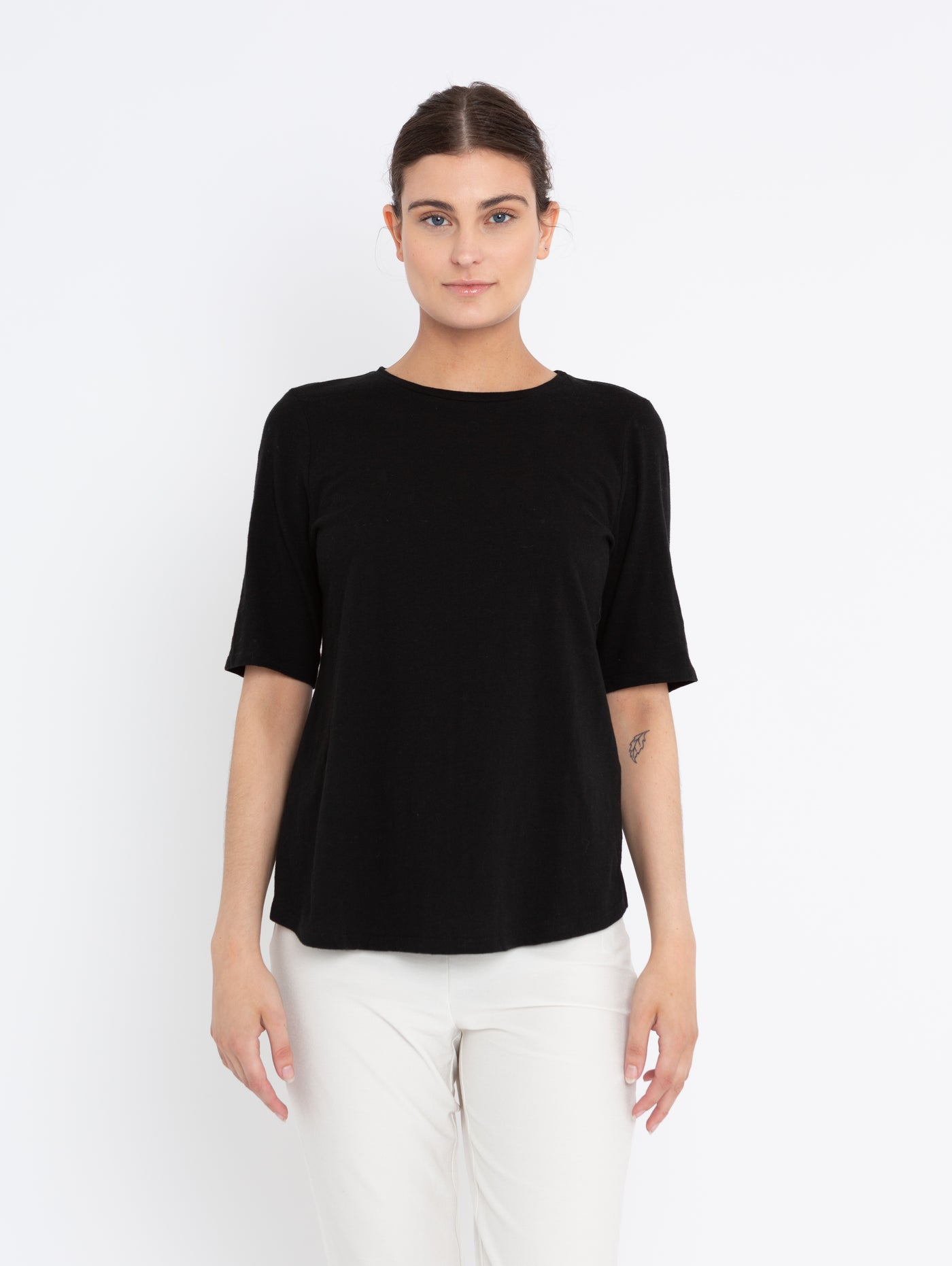 System Organic Cotton Jersey Slub Elbow Sleeve T-Shirt-EILEEN FISHER-Over the Rainbow