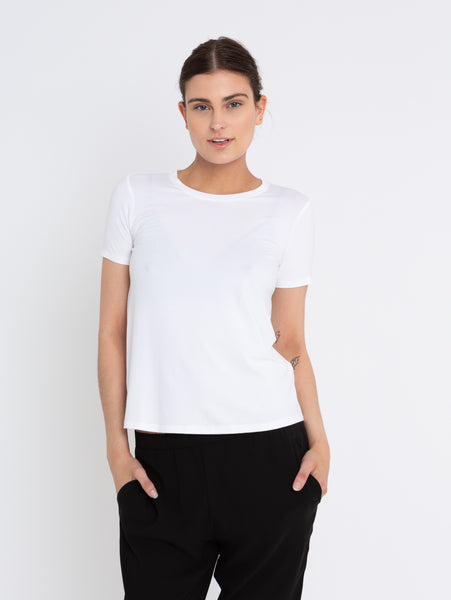 System Lightweight Viscose Jersey T-Shirt-EILEEN FISHER-Over the Rainbow