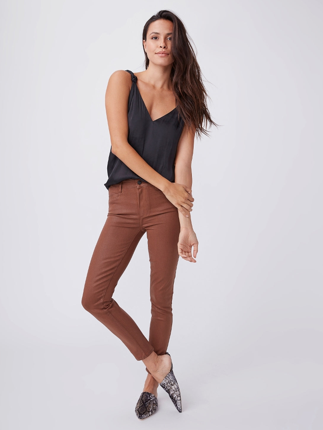 Hoxton Coated Ankle Skinny Jean - Cognac Luxe-Paige-Over the Rainbow