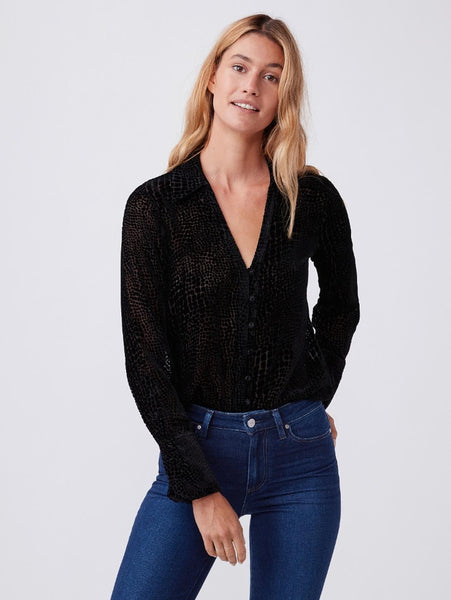 Toscani Long Sleeve Top - Black Crocodile Burnout-Paige-Over the Rainbow