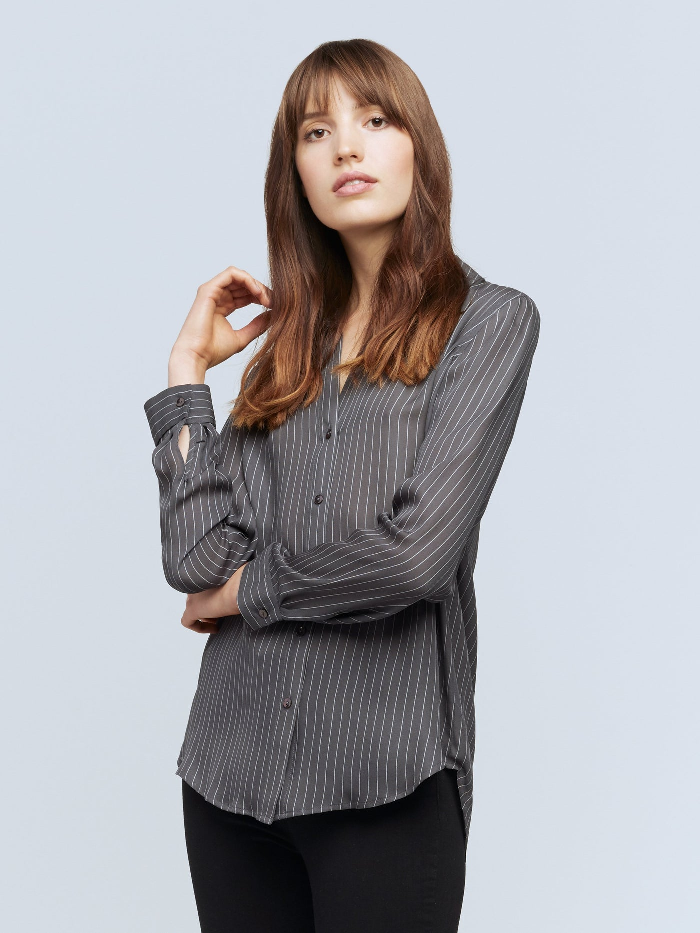 Nina Silk Button Down Shirt - Charcoal Grey/Ivory/Biarritz-LAGENCE-Over the Rainbow