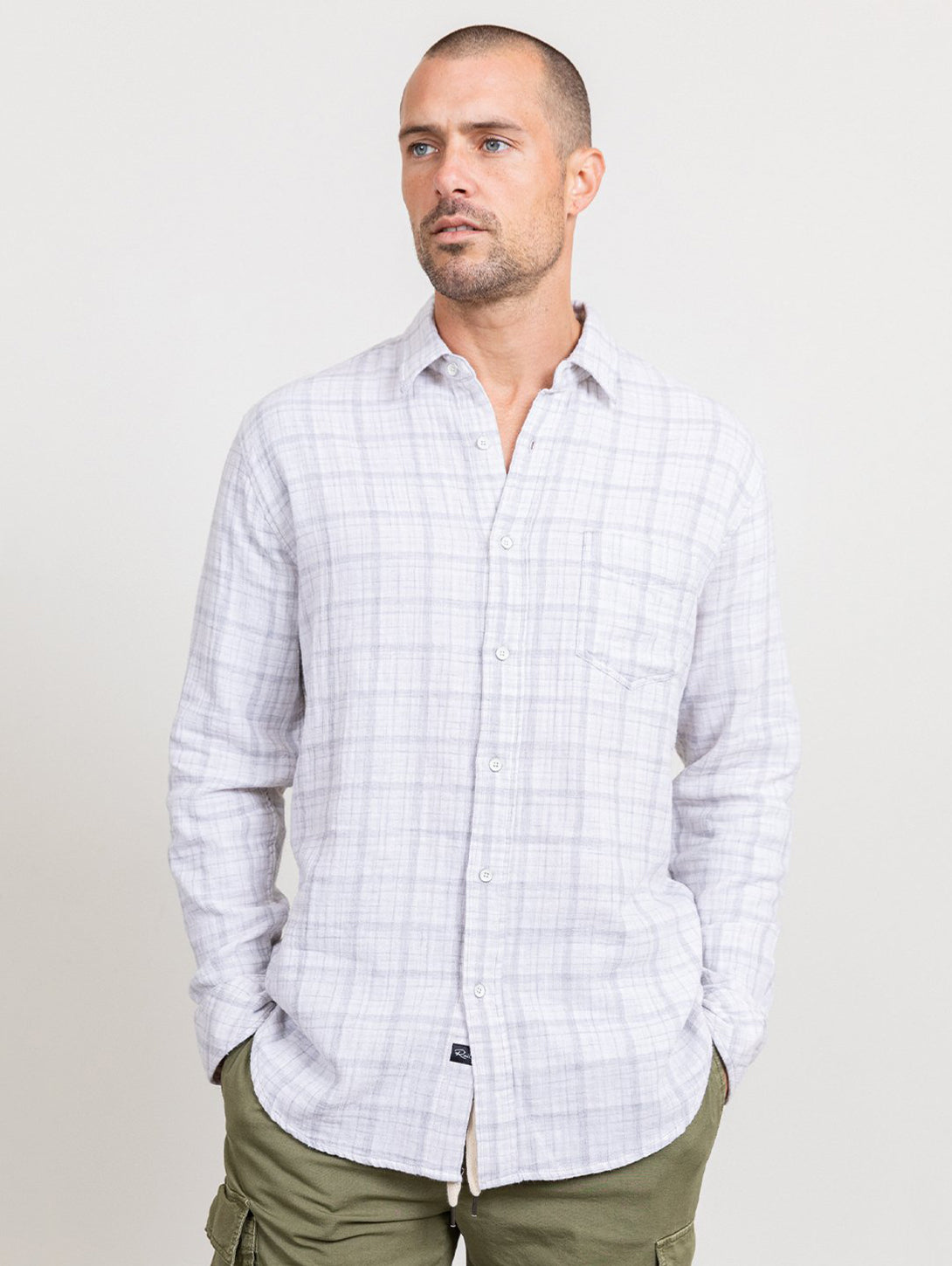 Owens Button Down Shirt - Cream Heather Grey-Rails-Over the Rainbow