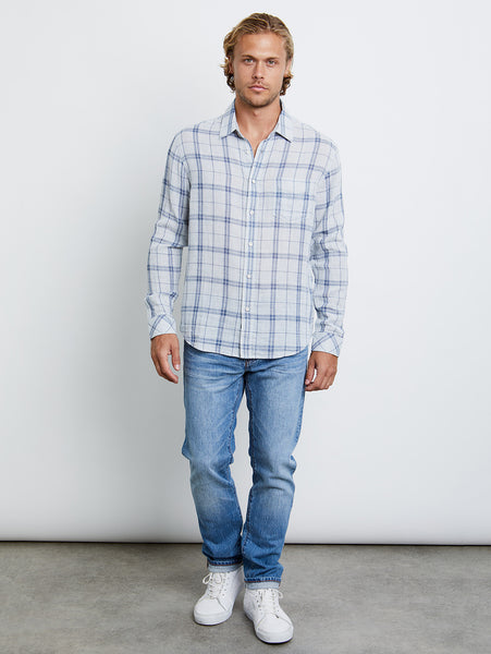 Owens Button Down Shirt - Indigo Heather Sky-Rails-Over the Rainbow
