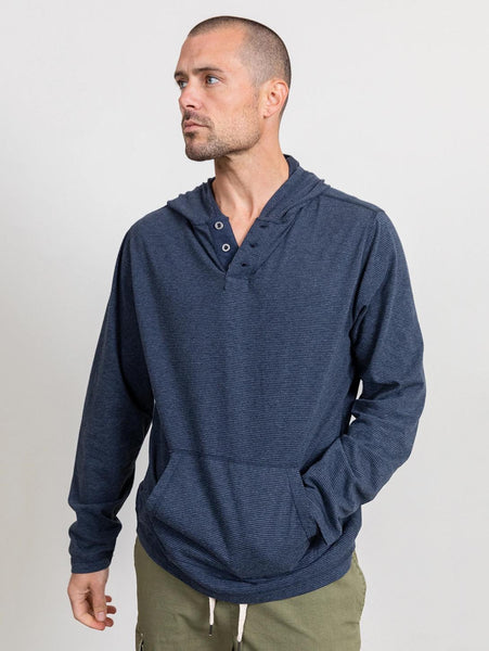 Weston Button Hoodie - Navy Blue Stripe-Rails-Over the Rainbow