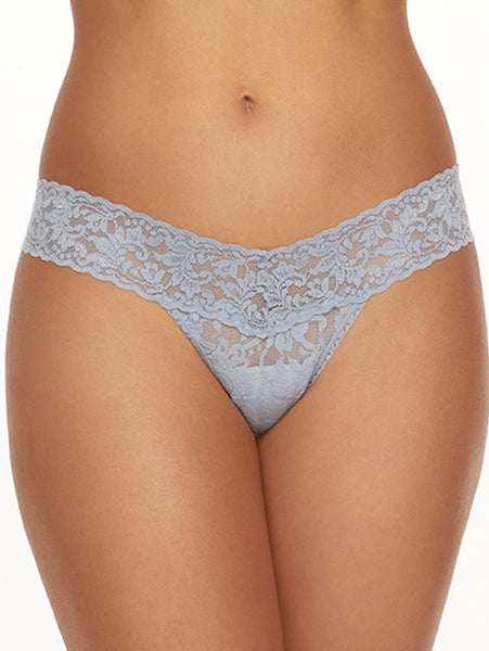 Signature Lace Low Rise Thong - Grey Tone Colours