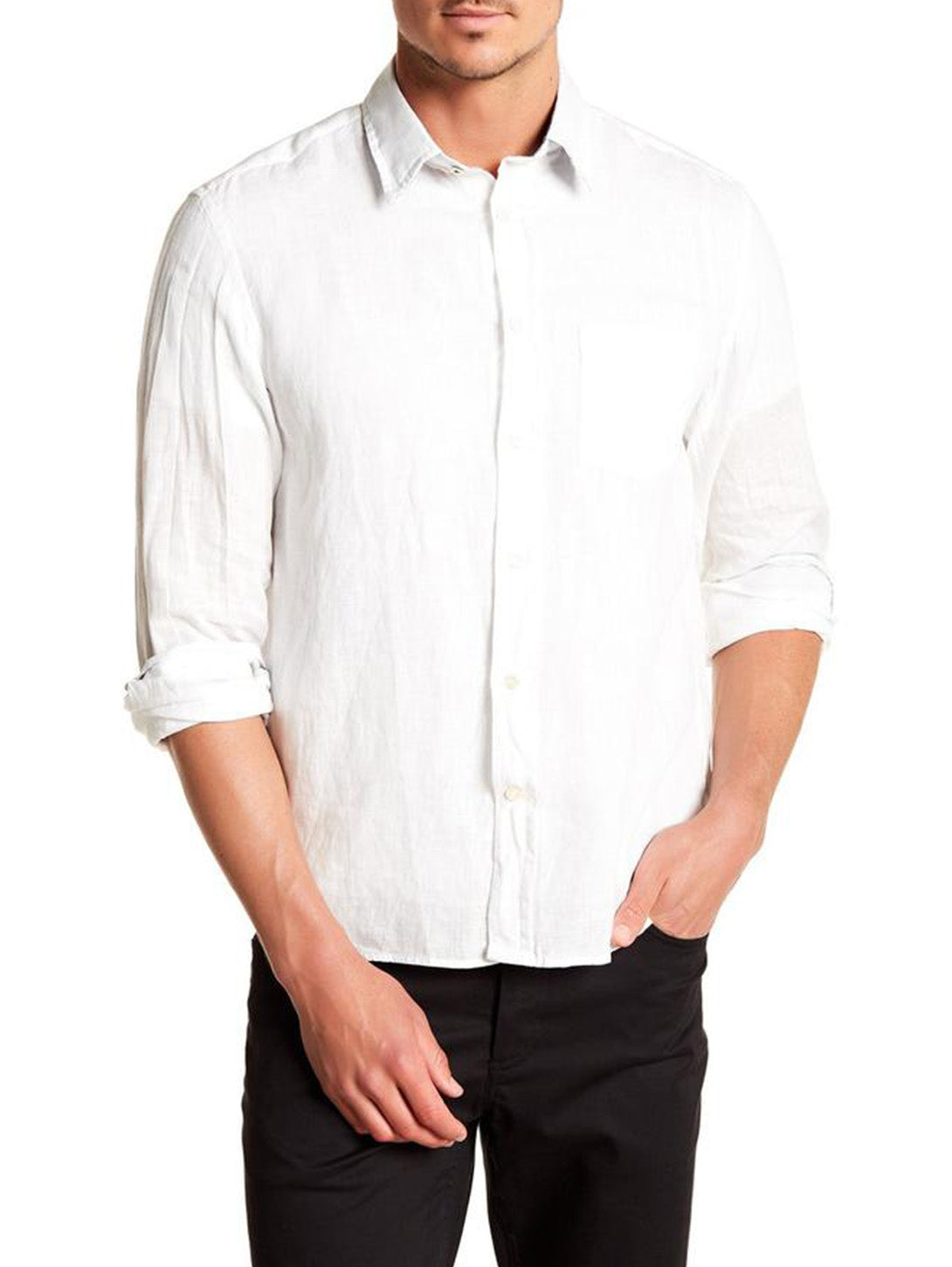Linen Long Sleeve Button Down Shirt - White-Benson-Over the Rainbow