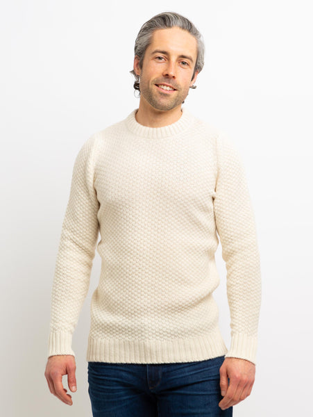 Northern Bubble Texture Crew Sweater - Cream-Benson-Over the Rainbow