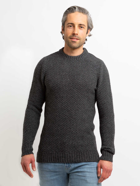 Northern Bubble Texture Crew Sweater - Graphite-Benson-Over the Rainbow