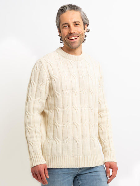 Heritage Cable Knit Crew Sweater - Beige-Benson-Over the Rainbow