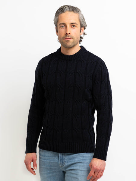 Heritage Cable Knit Crew Sweater - Navy-Benson-Over the Rainbow