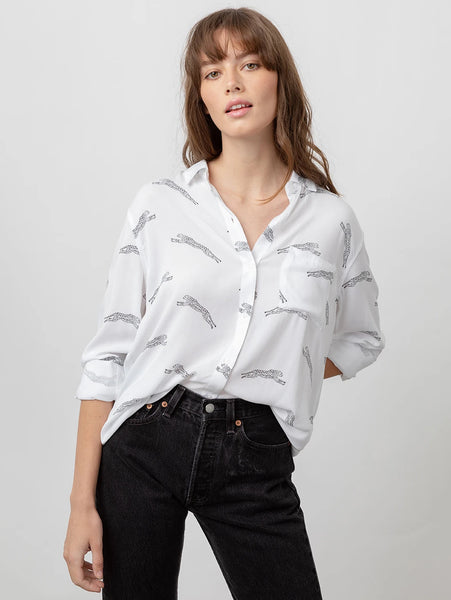 Rocsi Button Down Shirt - White Jaguar-Rails-Over the Rainbow