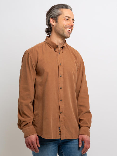 Denver Corduroy Woven Button Down Shirt - Pecan-Benson-Over the Rainbow