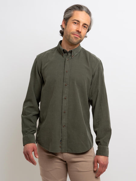 Denver Corduroy Woven Button Down Shirt - Olive-Benson-Over the Rainbow