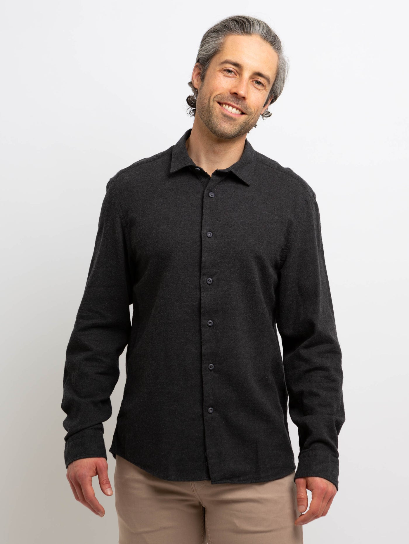 Redford Woven Button Down Shirt - Charcoal-Benson-Over the Rainbow