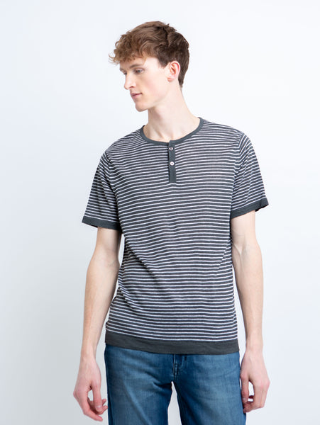 Linen Stripe Henley T-Shirt - Grey-Benson-Over the Rainbow