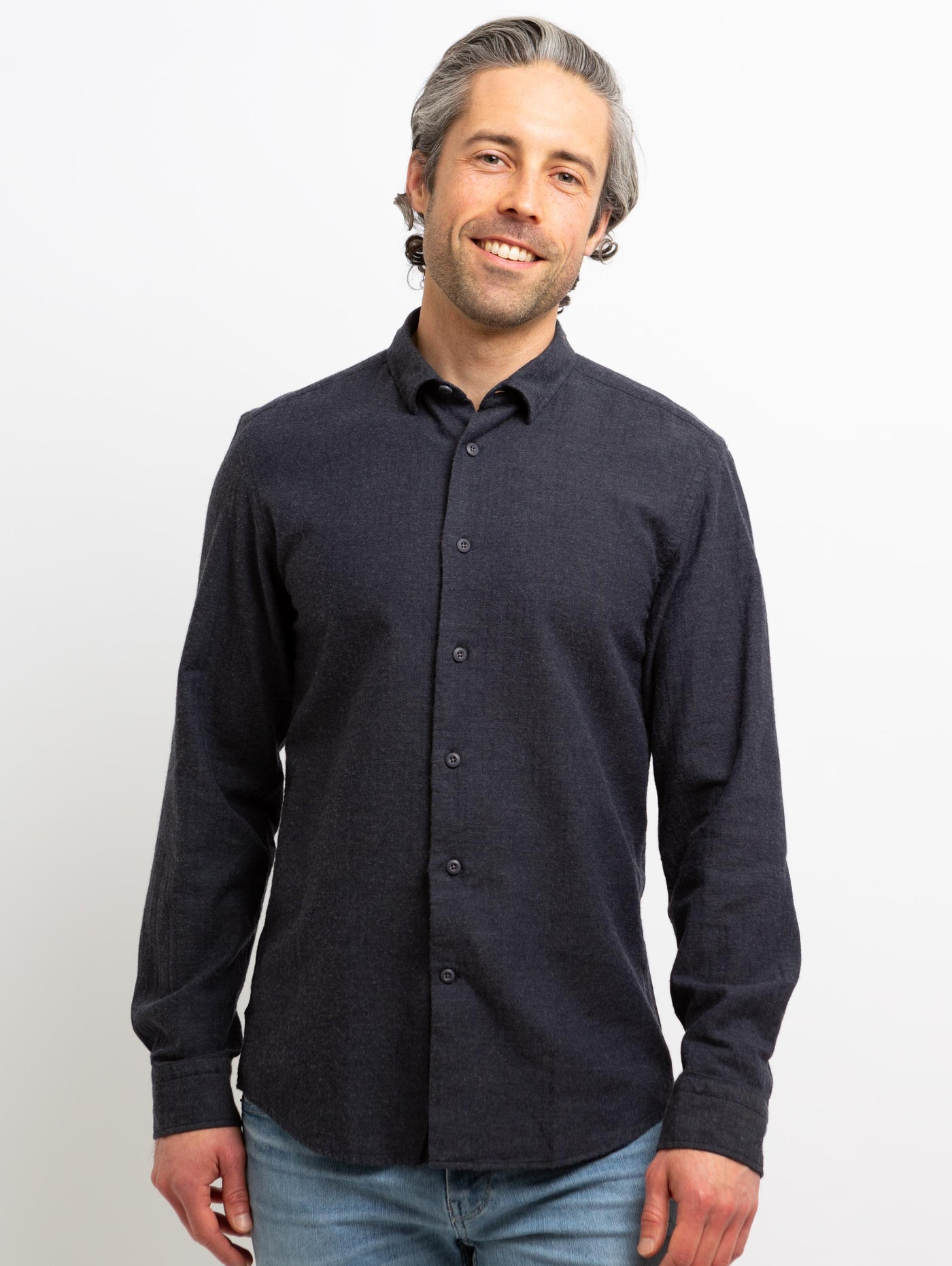 Redford Woven Button Down Shirt - Navy-Benson-Over the Rainbow