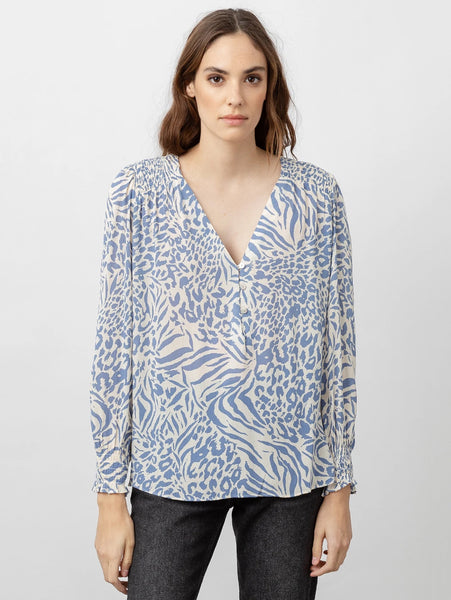 Brinley V Neck Print Top - Blue Mixed Animal-Rails-Over the Rainbow