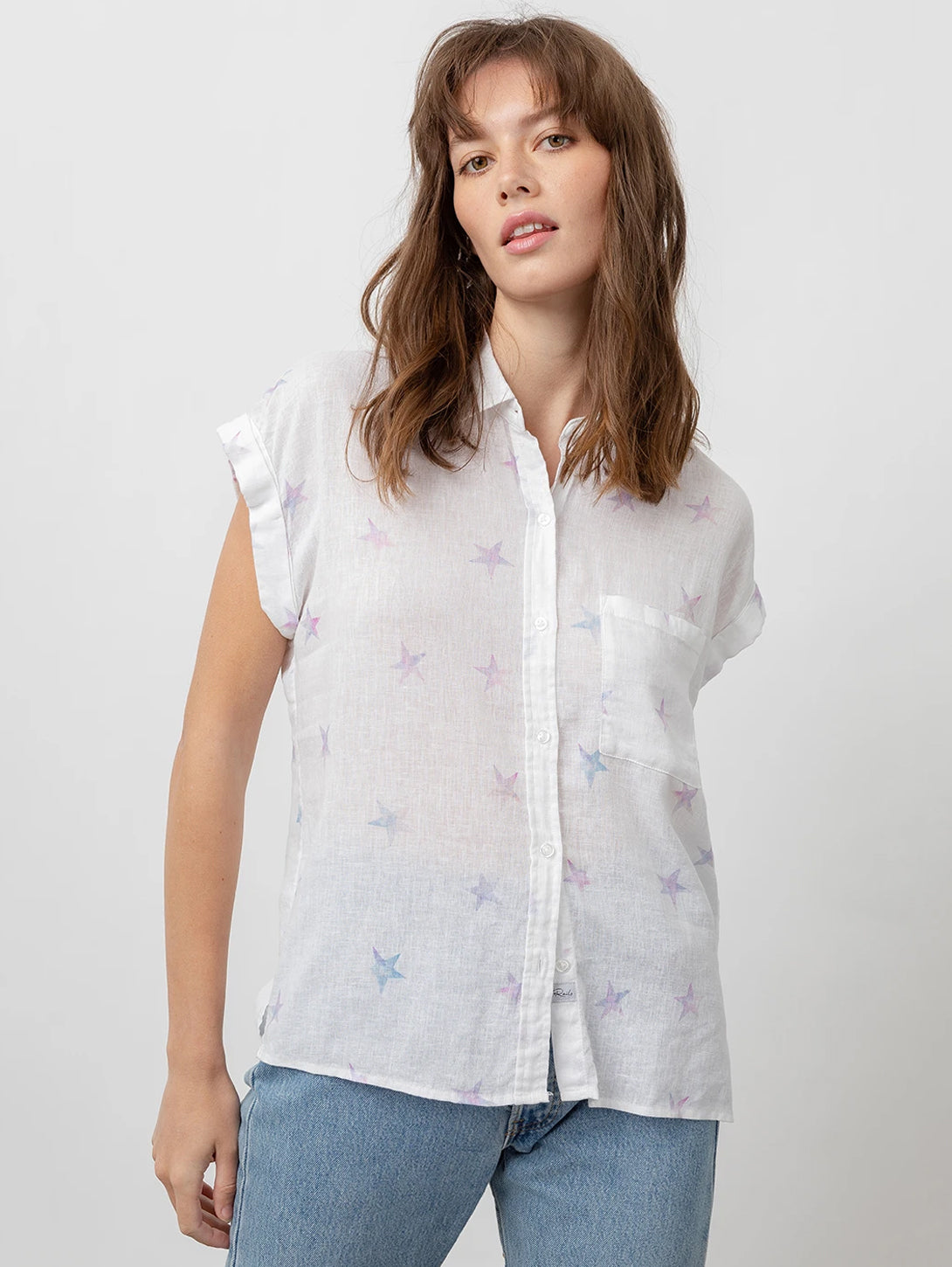 Whitney Short Sleeve Button Down Shirt - Tie Dye Stars-Rails-Over the Rainbow