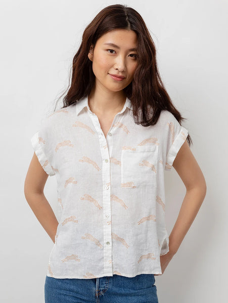 Whitney Short Sleeve Button Down Shirt - Golden Cheetah-Rails-Over the Rainbow